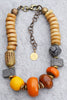 Ethnic and Exotic African Bone, Brass, Clay and Copal Amber Necklace