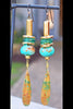 Rustic Turquoise Bone, Gold, Teal Glass and Chrysocolla Drop Earrings