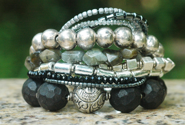 Captivating Gray, Charcoal, Black and Mixed Media Silver Bracelet