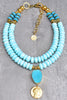 Absolutely Stunning Peruvian Blue Opal, Gold & Druzy Agate Necklace