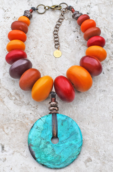Bold & Beautiful Tibetan Inspired Copal Amber and Turquoise Disc Choker