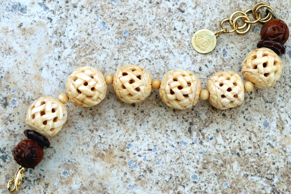 Asian-Inspired Carved Bone and Exotic Wood Statement Bracelet