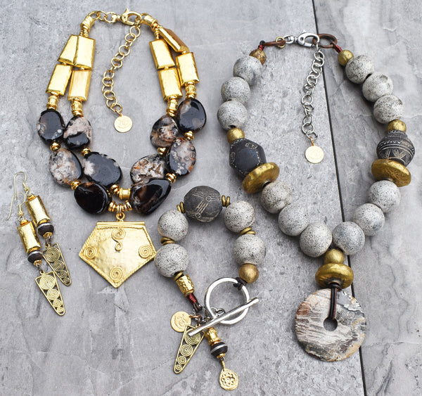 Exotic black, gold and gray winter statement jewelry