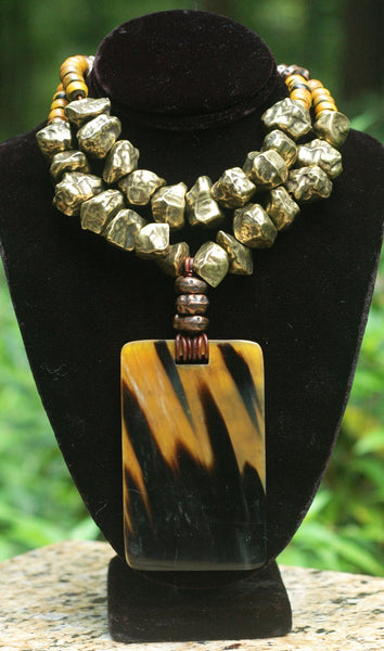 Dramatic Bronze and Horn Rectangle Pendant Collar Statement Necklace
