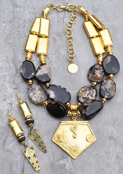 Beautiful black and gold statement necklace and earrings