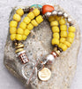 Tibetan Inspired Yellow Glass, Turquoise & Amber Boho Tribal Bracelet