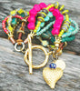 Blue, Green and Pink Artisan Mixed Media Heart Charm Bracelet