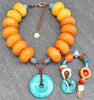 Bold Tibetan Inspired Amber & Turquoise Statement Necklace and Bracelet