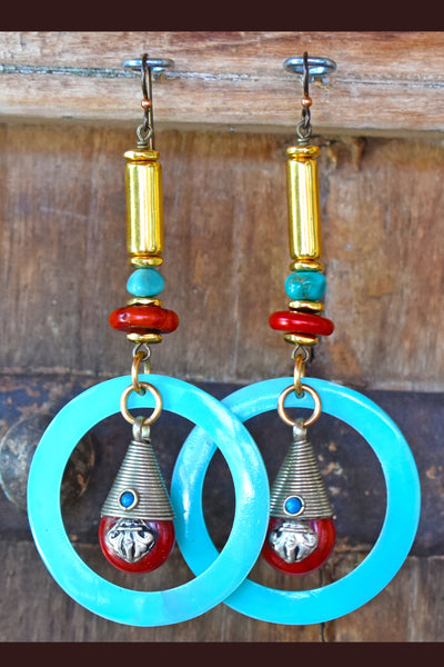 Bold Red Bamboo Coral, Turquoise and Gold Tibetan Hoop Earrings
