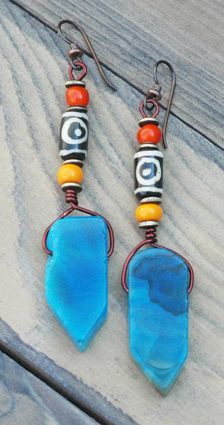 Exotic Orange Glass Terra Cotta & Blue Agate Tribal Statement Earrings