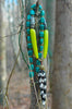 Long Emerald, Lime Green and Batik Bone Arrowhead Tribal Necklace