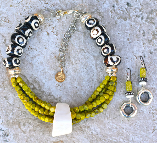 Tribal Style African Bone, Green Serpentine and Silver Choker Necklace and earrings