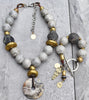 Rustic Vintage Gray Glass, Black Clay and African Brass Statement Jewelry