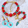 stunning red bamboo coral, turquoise and gold statement jewelry