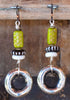 Fun Cute Modern Tribal Chartreuse Green, Bone and Silver Ring Earrings