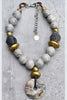 Rustic Vintage Gray Glass, Black Clay, Gold and Stone Disc Necklace