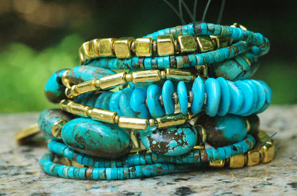 Stunning Chunky Custom Natural Turquoise and Gold Cuff Bracelet