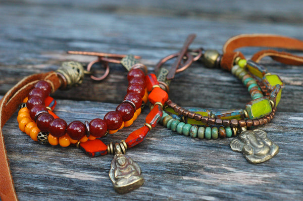 Everyday Mixed Media Glass and Leather Bohemian Buddha Charm Bracelet