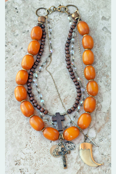 Custom Mixed Media Amber Resin, Wood, Crystal and Chain Charm Necklace