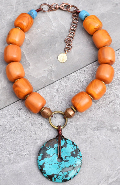 Soul Of Tibet Copal Amber & Turquoise Donut Pendant Statement Necklace