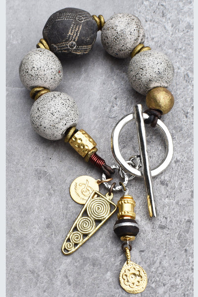 Rustic Vintage Gray Glass, Black Clay and African Brass Charm Bracelet