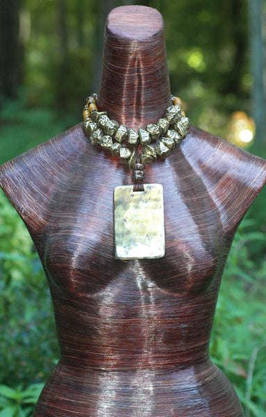 Gorgeous Artisan Ivory and Bronze Horn Pendant Statement Necklace