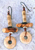 Exotic Tribal Bamboo, Rustic Wood Tubes and Bone Disc Earrings