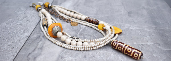 Safari Style African White Trade Bead and Tibetan dZi Pendant Necklace