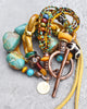 Unique Mixed Media Turquoise & Mustard Colors of Fall Chunky Bracelet