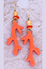 Vibrant and Brilliant Orange Coral and Exotic Gold Coral Reef Earrings