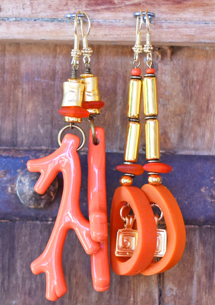Vibrant and Brilliant Orange Coral and Exotic Gold Spiral Hoop Earrings
