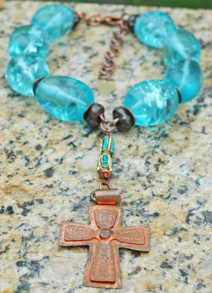 Water Blue Glass, Turquoise and Copper Cross Statement Choker Necklace