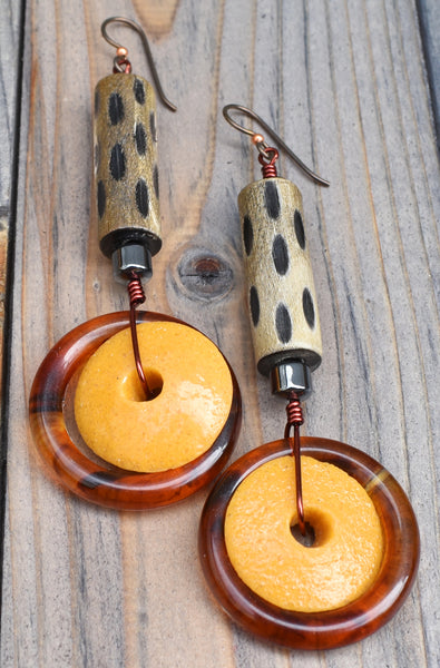 Exotic Water Buffalo Horn, Mustard Yellow Glass & Amber Hoop Earrings