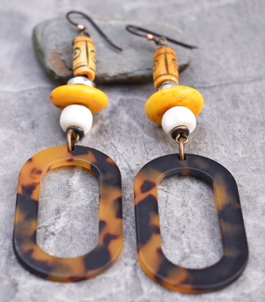 Safari Style Tribal Bone and Tortoiseshell Oval Hoop Earrings