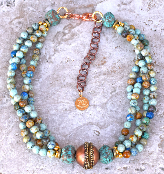 Custom Unique Blue Brown Jasper, Verdigris Clay and Copper Choker