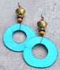 Exotic Brass and Vibrant Yellow & Turquoise Capiz Shell Hoop Earrings