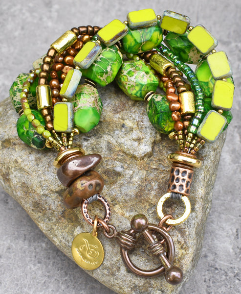 Exotic Green Jasper, Bronze, Gold, Copper and Glass Statement Bracelet