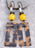Safari Style Yellow Jade and Tortoiseshell Rectangle Hoop Earrings