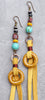 Unique Mixed Media Turquoise & Mustard Colors of Fall Dangle Earrings