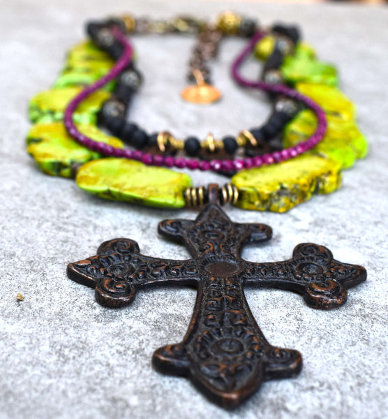 Punk Style Distressed Green, Black and Fuchsia Cross Pendant Necklace