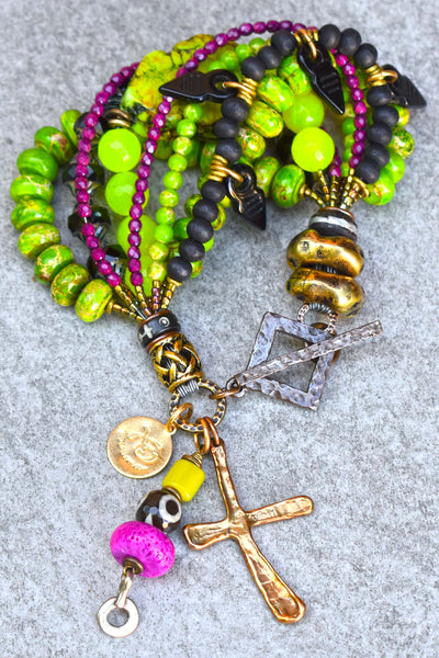 Punk Style Distressed Green, Black and Fuchsia Cross Charm Bracelet