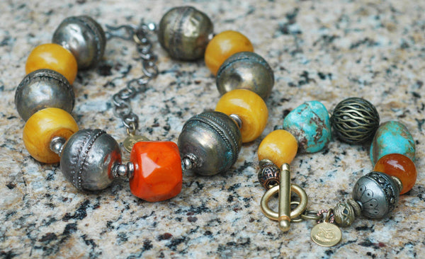 African Tribal Exotic Ethiopian Silver, Amber, Turquoise Statement Jewelry