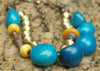 Bold Organic Blue Tagua Nut & African Brass Statement Choker Necklace