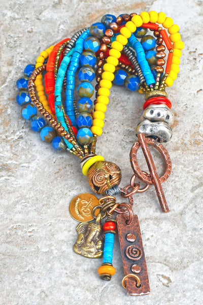 Blue, Orange and Yellow Mixed Media Artisan Boho Tribal Charm Bracelet