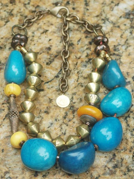 Bold and Organic Blue Tagua Nut and African Brass Statement Necklace