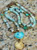 Peruvian Blue Opal, Turquoise, Gold Coin and Agate Slab Pendant Necklace