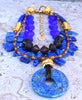 Exotic Blue Glass, Wood and Lapis Lazuli Fringe and Pendant Necklace