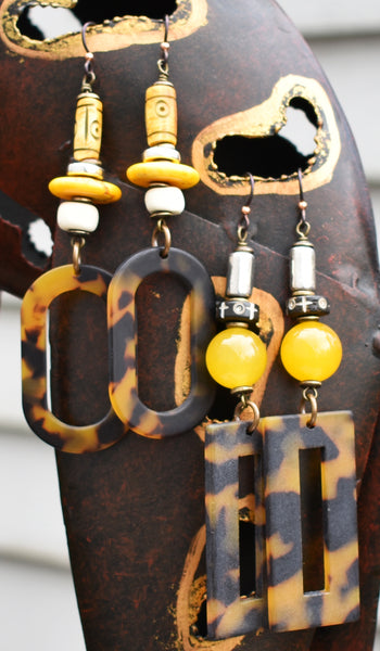 exotic long safari style tortoiseshell hoop earrings