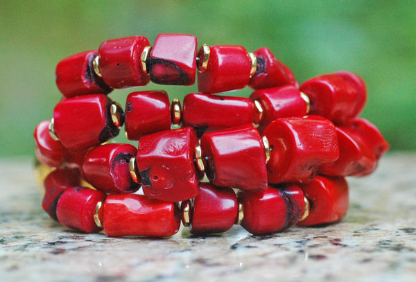 Designer Chunky Coral Nugget, Gold and Silver Statement Red Bracelet
