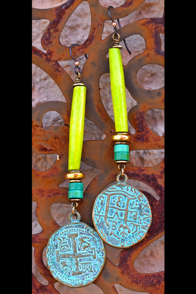 Lush Green Bone, Turquoise, Gold and Verdigris Coin Dangle Earrings